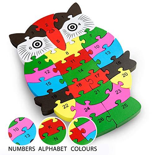 Schnecke Zahlenpuzzle Holzspielzeug | Zahlen und Buchstaben | Pädagogisches Spielzeug für klein-Kinder...