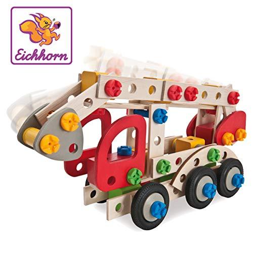 Eichhorn 100039085 - Constructor Feuerwehrauto, 155 tlg., Holz-Konstruktions-Set, 3 verschiedene...