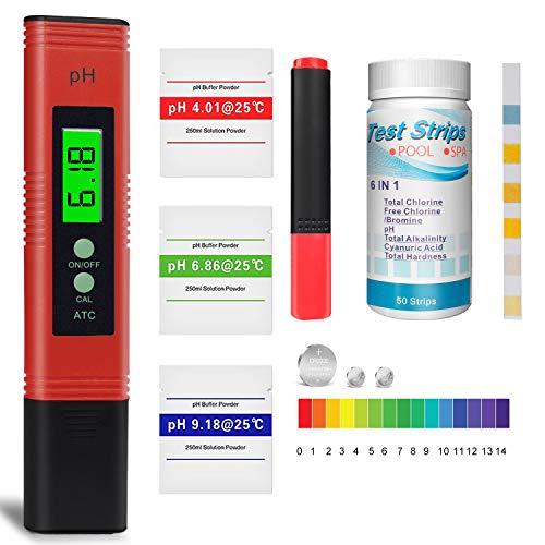 pH Messgerät, Pool Teststreifen x 50, Wassertester für Pool, Trinkwasser...