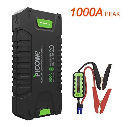 Picowe Auto Starthilfe,1000A Spitzenstrom 20000mAh Tragbare Auto Starter Hilfe Autobatterie Anlasser für...
