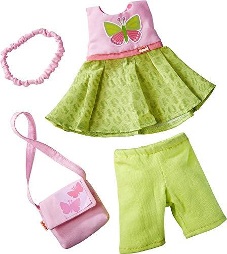 HABA 304253 - Kleiderset Schmetterling, Set aus Kleid, Hose, Handtasche und Haarband, Puppenzubehör für...