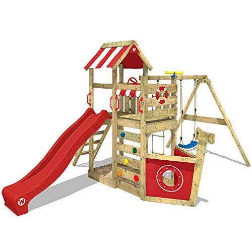 WICKEY Spielturm SeaFlyer Spielgerät Garten Kletterturm mit Schaukel, Rutsche und viel Zubehör, rote...