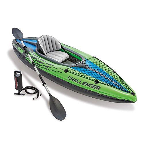 Intex Schlauchboot Aufblasbares Kajak Boot Challenger K1 Phthalates Free Inkl. 84 Paddel und Luftpumpe,...