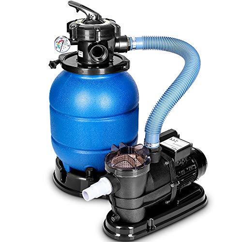 tillvex Sandfilteranlage 10 m³/h - Filteranlage 5-Wege Ventil | Poolfilter mit Druckanzeige | Sandfilter...