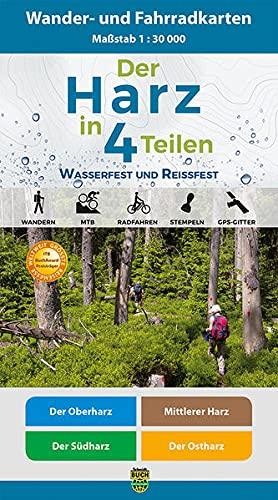 Der Harz in 4 Teilen: Wasserfestes und Reißfestes Wander- und Fahrradkarten-Set: Der Oberharz •...