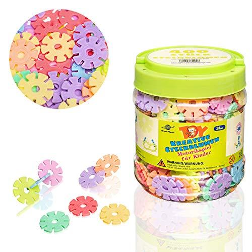 Smart Planet 400 Steckblumen in Dose - Schneeflocken zum Stecken 3,3 cm Pastell Kinder Spielzeug...