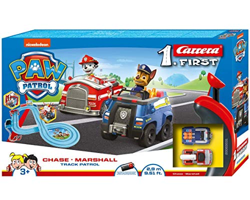 Carrera FIRST PAW PATROL Track Patrol 2,4m Rennstrecken-Set | 2 ferngesteuerte Fahrzeuge mit Chase und...