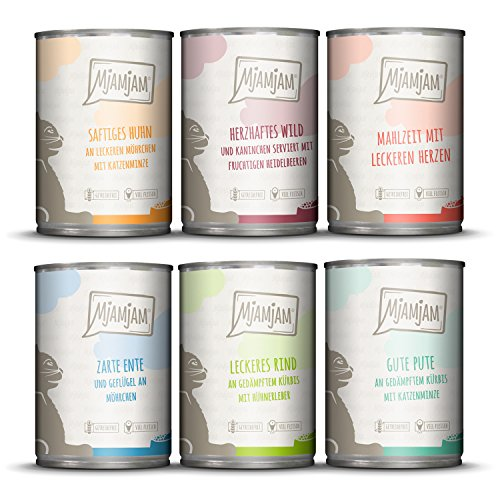 MjAMjAM - Premium Nassfutter für Katzen - Mixpaket 3 - Wild & Kaninchen, Pute, Ente & Geflügel, herzen,...