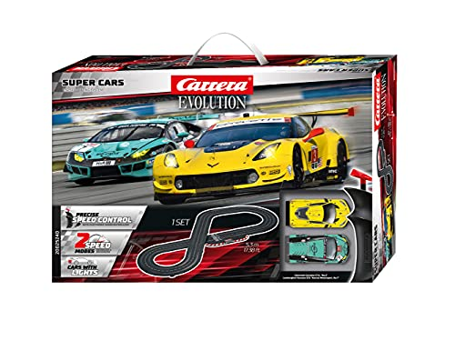 Carrera Evolution Super Cars Rennbahn Set | Rennbahn mit extra Breiten Schienen | Maßstab 1:24 | Ausbau...