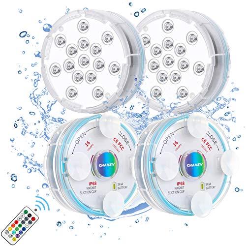 Chakev Unterwasser Licht IP68 Pool Beleuchtungen Farbwechsel Poollicht Garten Licht mit Magnet Saugnapf...