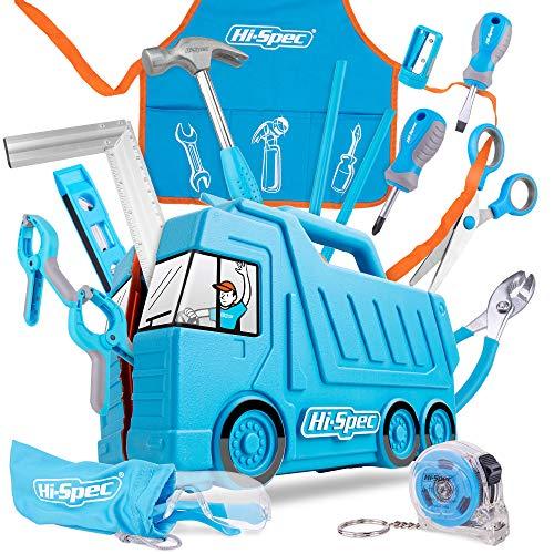 Hi-Spec 17 Stück Kinder Werkzeugset mit LKW box in blau, Kinderschürze mit Taschen, Schutzbrille,...