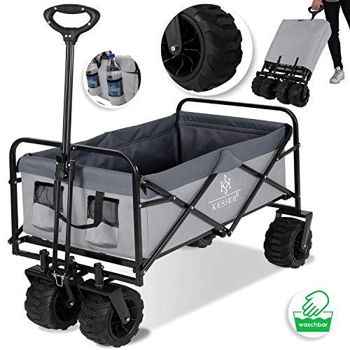 KESSER® Bollerwagen faltbar mit Breite Reifen Handwagen Transportkarre Gerätewagen | inkl. 2...