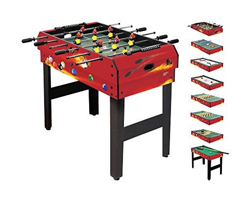Carromco 6068 Table Multifonction-8 En 1-Fire De Xt Tischspiele, Multifunktionstisch, Rot/Schwarz,...