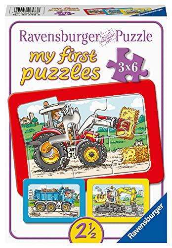 Ravensburger Kinderpuzzle - 06573 Bagger, Traktor und Kipplader - my first puzzle mit 3x6 Teilen - Puzzle...