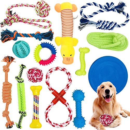 McNory Hundespielzeug Set,Hundeseile, interaktives Pet Rope Spielzeug, Hergestellt aus Natürlicher...