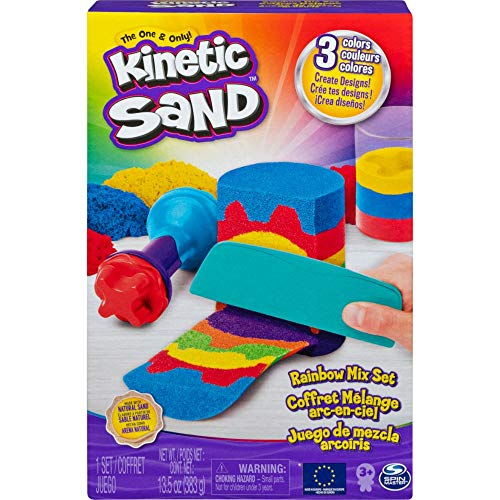 Kinetic Sand Regenbogen Mix Set mit 383 g Kinetic Sand in 3 Farben und Förmchen