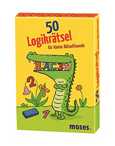 Moses MOS21082 50 Logikrätsel für kleine Rätselfreunde | Kinderbeschäftigung | Kartenset