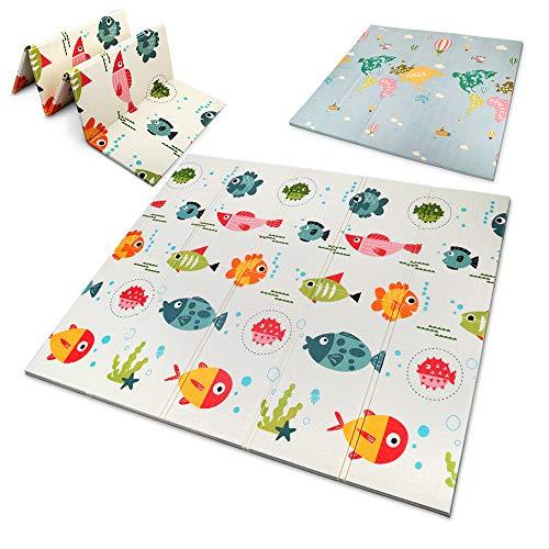 OUNUO Baby Spielmatte Spielteppich Doppelseitige Krabbelmatte 200 x 180 cm Spieldecke faltbare...
