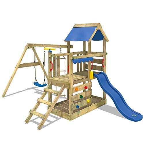 WICKEY Spielturm Klettergerüst TurboFlyer mit Schaukel & blauer Rutsche, Kletterturm mit Sandkasten,...
