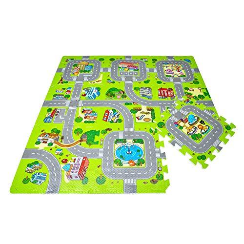 Leo & Emma Hochwertige Puzzlematte Spielstraße Kinder-Spielteppich Spielmatte mit Straßenzug Als...