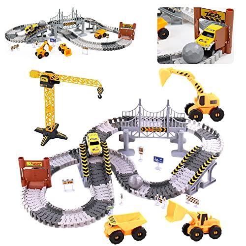 Autorennbahn Rennbahn Cars Spielzeug-spielzeugautos Autobahn ab 3 4 5 6 Jahre Junge Mädchen,Flexible...