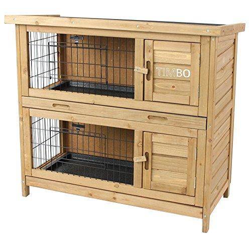 Timbo Kaninchenstall/Hasenstall Emma auf 2 Etagen - 92x45x81 cm - Kleintier-Stall für Draußen. Der...