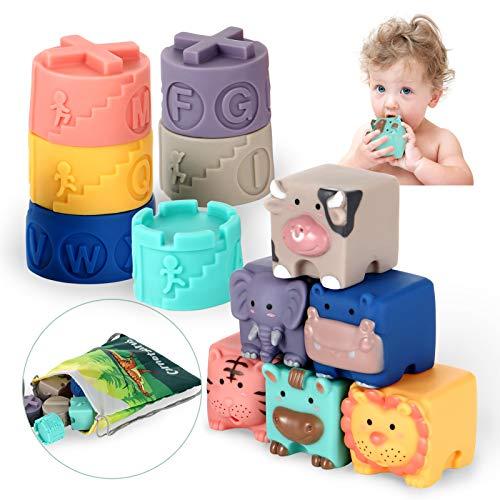 OleOletOy Baby Bausteine mit Stapelbecher Montessori Badewannenspielzeug Tier Blöcke und Becher...