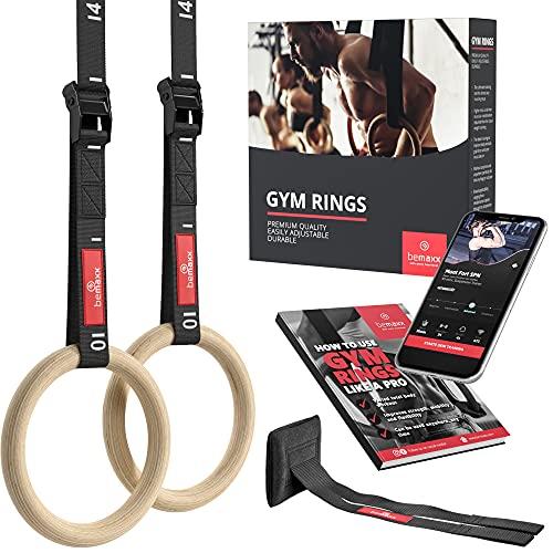 BeMaxx Turnringe Holz Gym Rings + Türanker & Trainings-eBook – Olympische Gymnastik Holzturnringe &...
