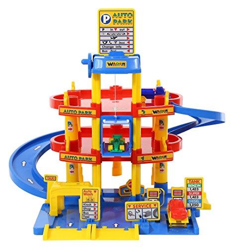 Wader Quality Toys Auto Park Garage mit 3 Ebenen + 3 Autos