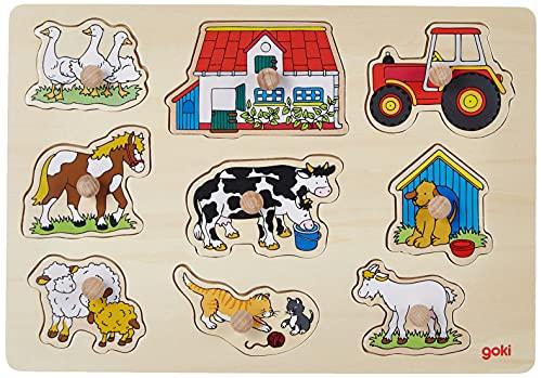 Goki Steckpuzzle: Bauernhof-Puzzle für Kinder