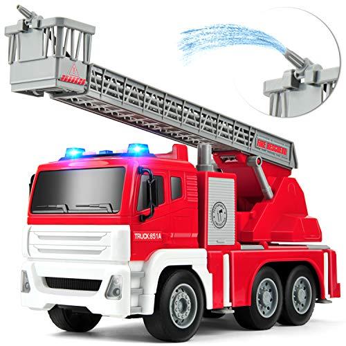 GizmoVine Feuerwehrauto mit Wasserspritze Wasserpumpe Spielzeugautos Reibung angetrieben BauSpielzeug mit...