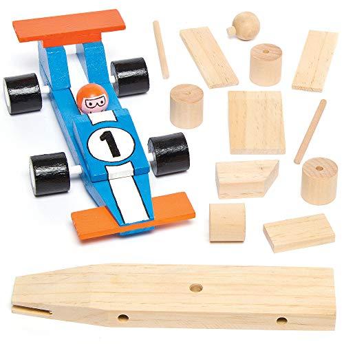 Baker Ross AG769 Rennwagen-Bastelsets aus Holz für Kinder zum Basteln und Dekorieren als Geschenk zum...