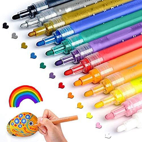 Acrylstifte für Steine Bemalen Set ANYUKE 12 Acrylfarben Stifte zum Steine Bemalen Holz Tassen Keramik...