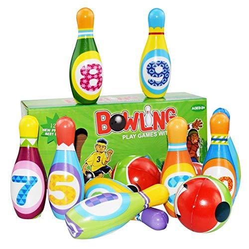 Kinder Bowling Set Kegelspiel mit 10 Kegel und 2 Bällen, Kegelspiel für Kinder, Drinnen Draußen...
