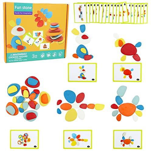 Montessori Spielzeug Stapelsteine für Kinder Stapelspiel 36 Stück BalanciersteineStapeln Baby...