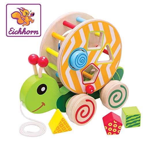 Eichhorn Nachzieh-Stecktier, mit 4 versch. Steckbausteinen, Birkenholzspielzeug mit Bewegung, für Kinder...
