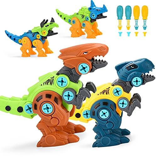 ALLCELE Dinosaurier Montage Spielzeug, 4 Stück DIY Dinosaurier Figuren Set mit Schrauben Pädagogisches...
