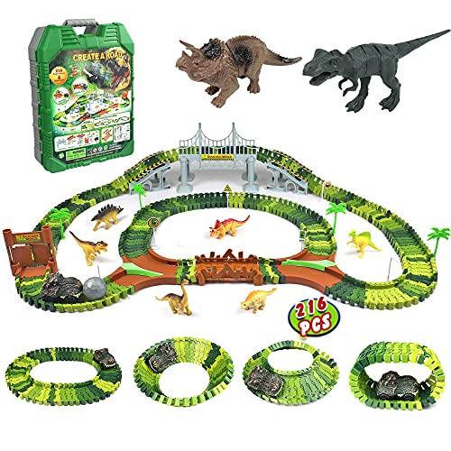Dinosaurier Spielzeug Rennbahn 216 Stück Tracks Cars Spielzeug mit 1 Dinosaurierauto & 8 Dinosaurier...
