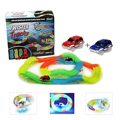 Autorennbahn für Kinder ab 3 Jahren, Kuultoy Magic Truck Twister Tracks E-Auto Konstruktionsspielzeug...
