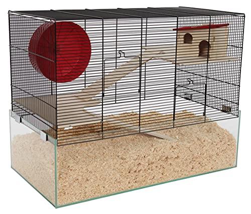 PETGARD Mäuse- und Hamsterkäfig, Nagarium mit Glaswanne und 2 Holzetagen, Komplettset mit Laufrad und...