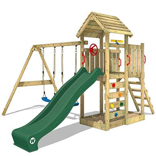 WICKEY Spielturm Klettergerüst MultiFlyer Holzdach mit Schaukel & grüner Rutsche, Kletterturm mit...
