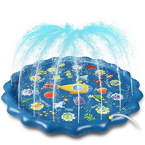 Splash Pad, 170cm Sprinkler Play Matte, Wasserspielzeug Spielmatte Sommer Wasser Spielzeug Sprinklerpool...