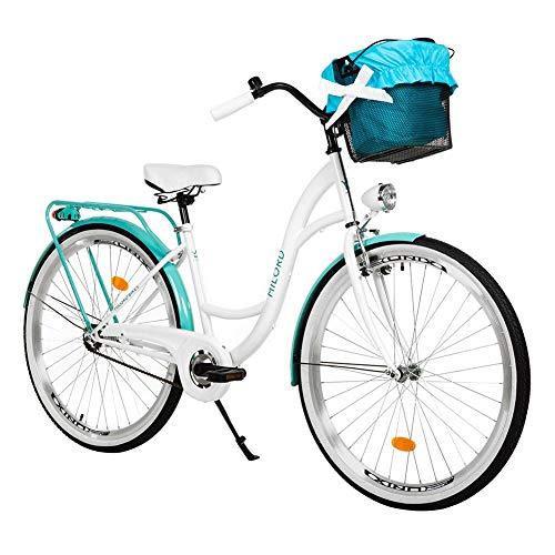 Milord. 26 Zoll 3-Gang Weiß Aquablau Komfort Fahrrad mit Korb Hollandrad Damenfahrrad Citybike Cityrad...