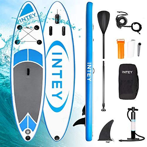 INTEY Aufblasbares SUP Stand Up Paddel Board 305×76×15cm,ISUP Surf Board mit Luftpumpe,Verstellbarem...