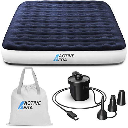 Active Era Luxus Camping Doppel Luftbett mit elektrischer Luftpumpe - Luftmatratze für 2 Personen mit...
