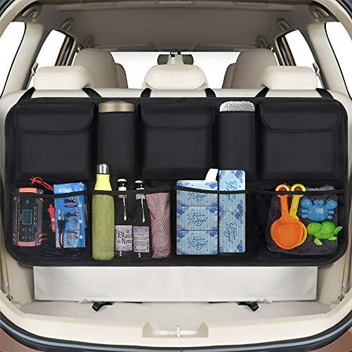 phixilin Kofferraum Organizer Auto, Upgrade Auto Aufbewahrungstasche mit 9 Taschen Klett Befestigung...