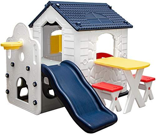 LittleTom Kinder Spielhaus mit Rutsche - Garten Kinderhaus ab 1 - Indoor Kinderspielhaus Kunststoff