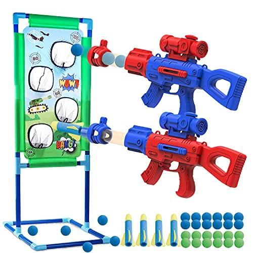 SLDALES 2PCS Spielzeug Pistolen Kinder, Mit 24 Schaumbälle,4 Schaumstoffpfeilen und Schießen...