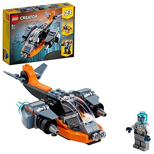LEGO 31111 Creator 3-in-1 Cyber-Drohne, Cyber-Mech oder Hoverbike, Weltraum Spielzeug für Kinder ab 6...