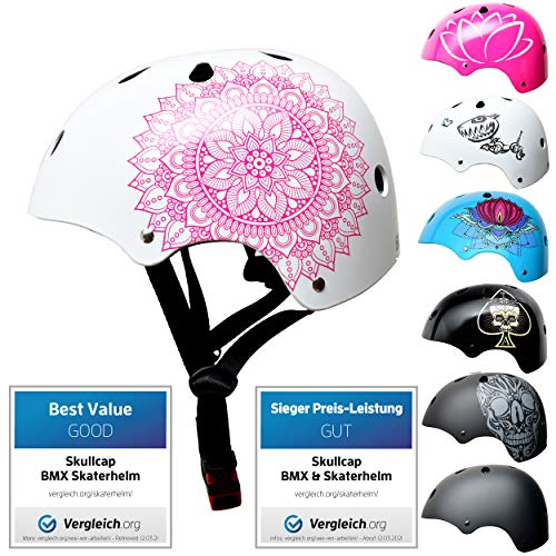 Skullcap® Skaterhelm Kinder Weiß Mandala - Fahrradhelm Mädchen ab 6 Jahre Größe S (53-55 cm) - Scoot...